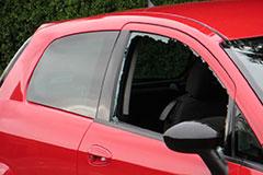 red hatch back car side passenger window glass broken in