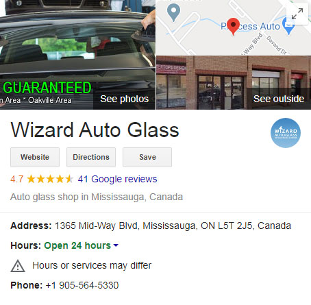 wizard auto glass Google My Business info panel on Google Search result